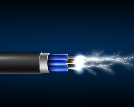 electrocute: Electric cord with electricity sparkls as symbol of power