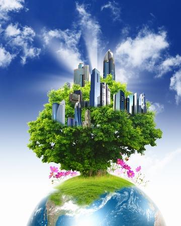 �cologie: collage de nature paysage vert avec la plan�te Terre au-dessus