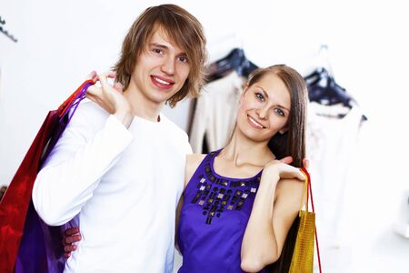 Young caucausian couple doing clothing shopping together Stock Photo - 11844365