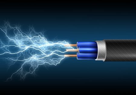 zasilania: Przewód elektryczny z sparkls elektroenergetycznych jako symbol wÅ'adzy Zdjęcie Seryjne