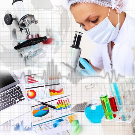 test equipment: Image of a doctor working in labortory and different scientific equipment Stock Photo