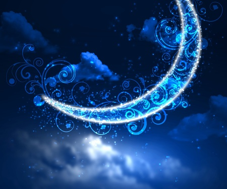 Dark blue night sky background with moon and twinkling stars photo