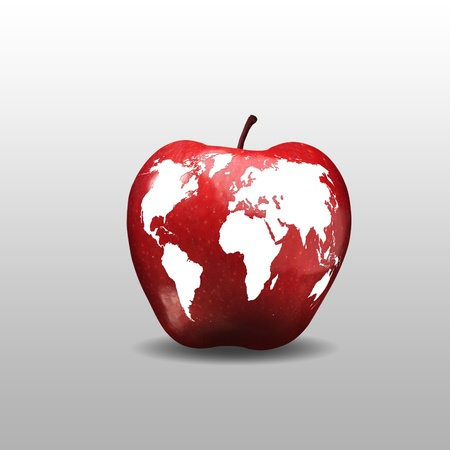 Picture of an apple as a planet Earth model photo