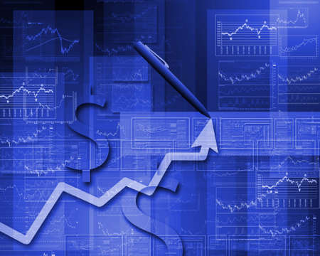 Colour illustration of business and financial charts and graphs illustration