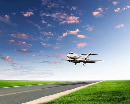 takeoff: Image of airplane in blue cloudy sky