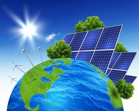 Collage met zonne-accu's als alternatieve bron van energie