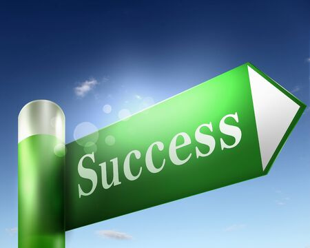 green road sign with word Success on it photo