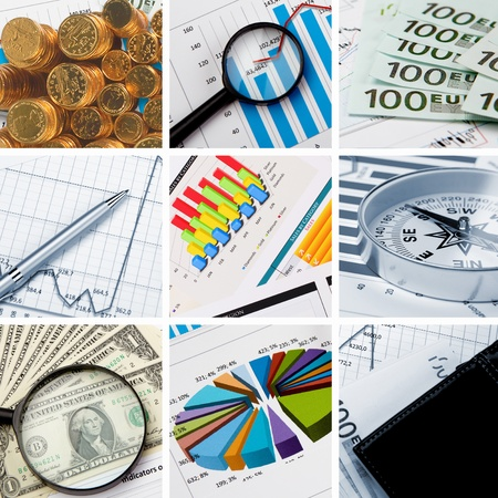construction management: Collage of financial and business charts and graphs