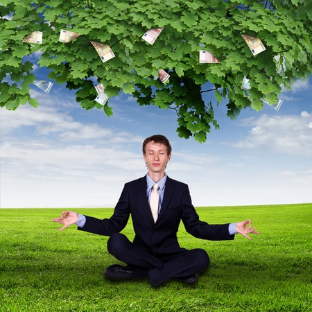 pile of money: Collage with a money tree and young business man Stock Photo