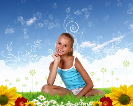 Collage with little smiling girl on green grass photo