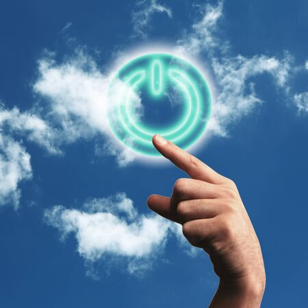 Picture of power button against blue sky background Stock Photo - 11986807