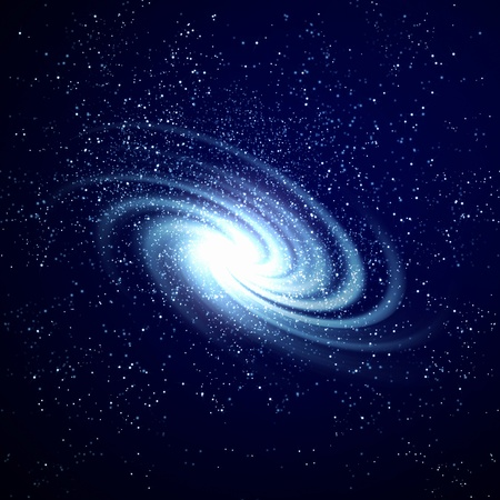 blue spiral: Image of glowing galaxy against black space and stars Stock Photo