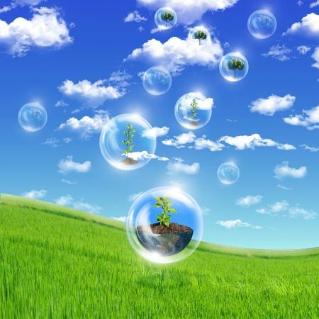 Ilustración ofair burbujas con el interior de la planta verde como símbolo de protección de la naturaleza