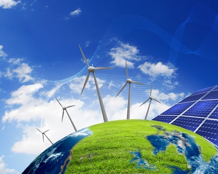 Green planet earth with solar energy batteries installed on it Stock Photo