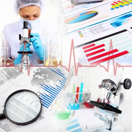 Image of a doctor working in labortory and different scientific equipment photo