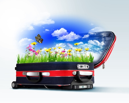 Red suitcase with green nature landscape in it photo