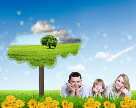 parenting: Collage with children and parents on green grass and under blue sky