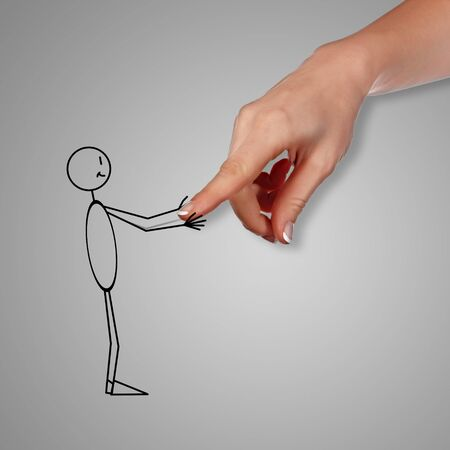 Deawing of a man shaking human hand photo