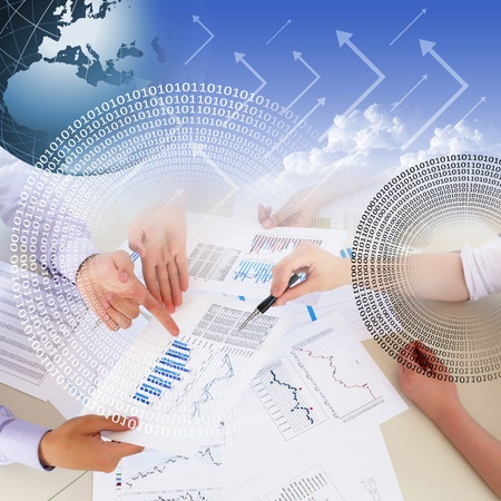 price development: Business collage with financial and business charts and graphs Stock Photo