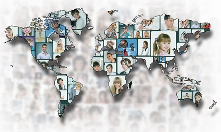 global networking: World map background with people portraits on it
