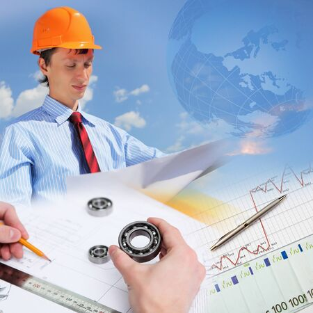 Collage with a business person and construction images Stock Photo - 12404068