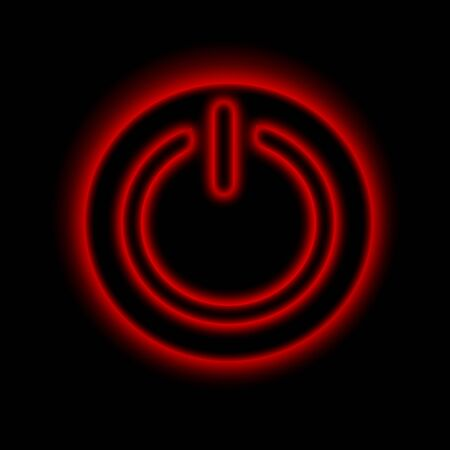 energize: Picture of a power button against black background Stock Photo