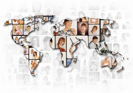 World map background with people portraits on it Stock Photo - 12403614