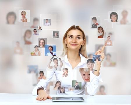 Collage con una persona de negocios contra el fondo de tecnología Foto de archivo