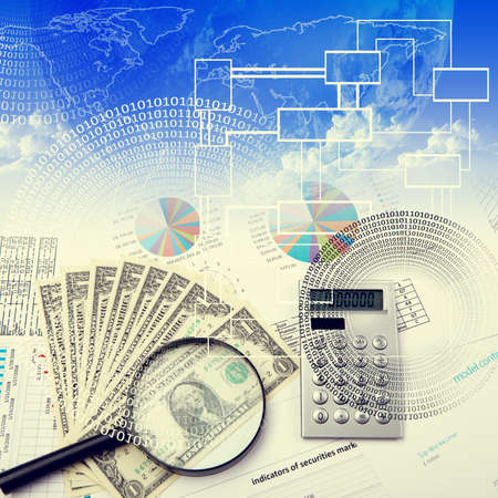 Business collage with financial and business charts and graphs photo