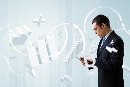Businessman making presentation against modern technology background photo