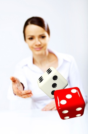 Image of a flying dice as symbol of risk and luck Stock Photo - 12404170