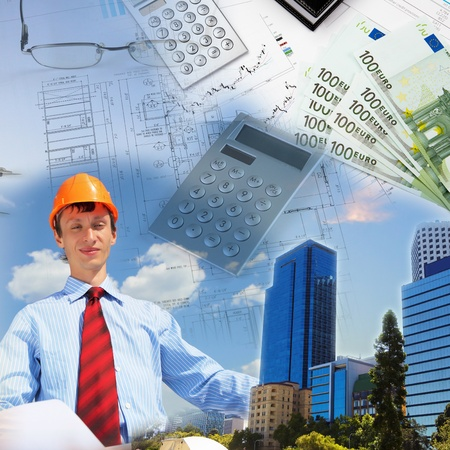 Collage with a business person and construction images photo