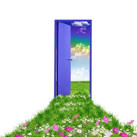 open house: Picture of a open door leading to summer landscape Stock Photo