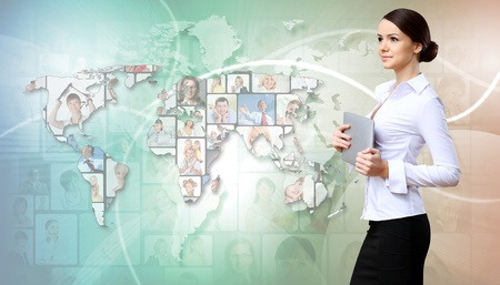 Collage with a business person against technology background Stock Photo - 12404223