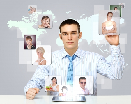 Collage with a business person against technology background Stock Photo - 12404448