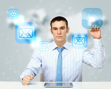 virtual community: Collage with a business person against technology background Stock Photo