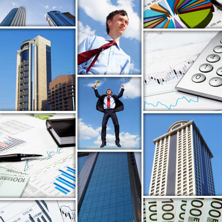 wealth management: Collage of financial and business charts and graphs