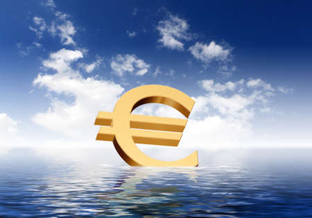 currency exchange: Currency symbols floating on blue sea waves