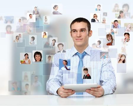 Businessman making presentation against social network bacjkground Stock Photo - 12561497