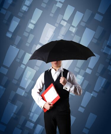 Collage with young businessman against weather background photo