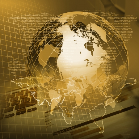 global economy: Global financial color charts and graphs illustration Stock Photo
