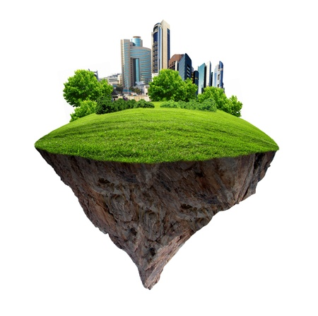 road scraper: Image of a modern city surrounded by nature landscape