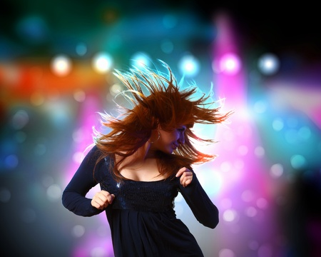 Image of young woman and colorful disco background photo