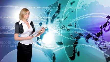 Image of global technology and internet communication photo