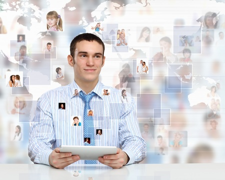 Businessman making presentation against social network bacjkground Stock Photo - 12560879