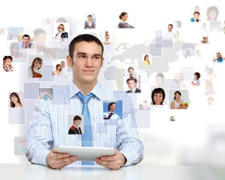 Businessman making presentation against social network bacjkground photo