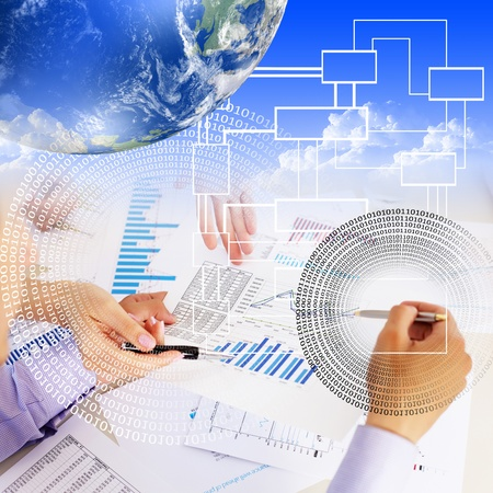 construction project: Business collage with financial and business charts and graphs Stock Photo