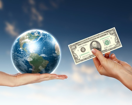 Collage with human hands holding money against blue sky Stock Photo - 12739285