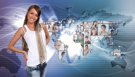 Young woman standing against world map background photo