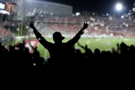 Image of a full stadium with silhouettes of fan on the foreground photo